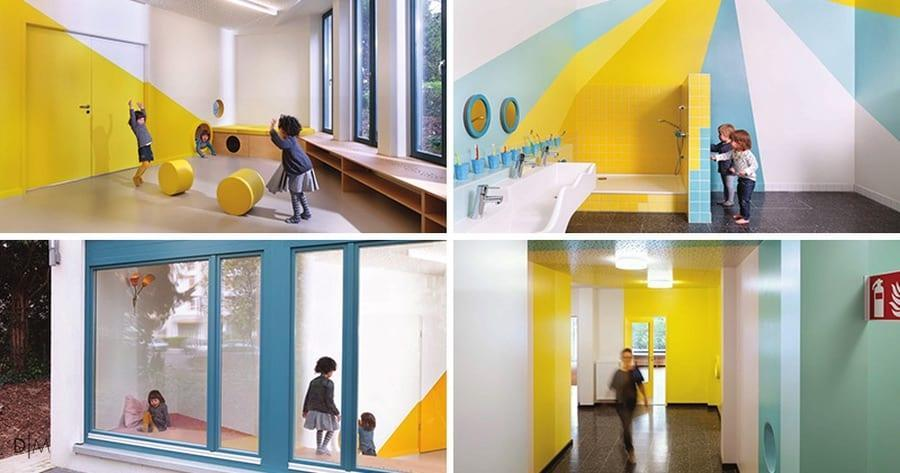 مهدکودکی با فضای داخلی سرگرم کننده و خلاقانه